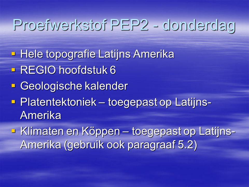 Proefwerkstof PEP2 - donderdag