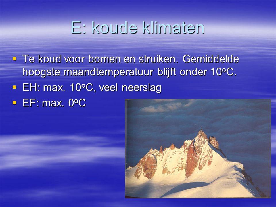 E: koude klimaten Te koud voor bomen en struiken. Gemiddelde hoogste maandtemperatuur blijft onder 10oC.