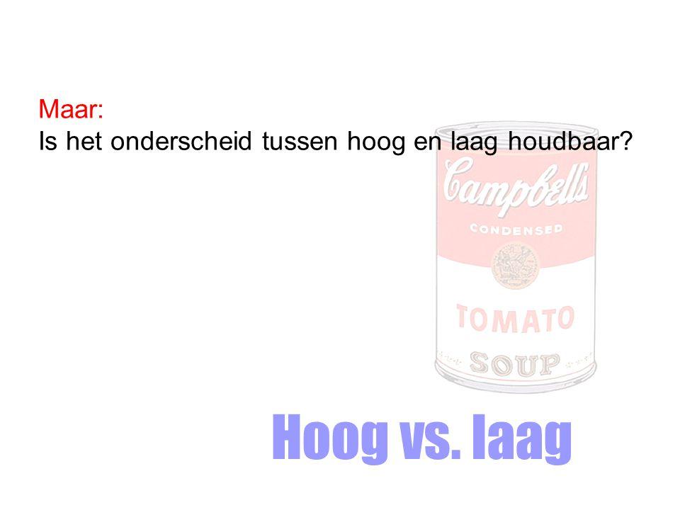 Maar: Is het onderscheid tussen hoog en laag houdbaar Hoog vs. laag