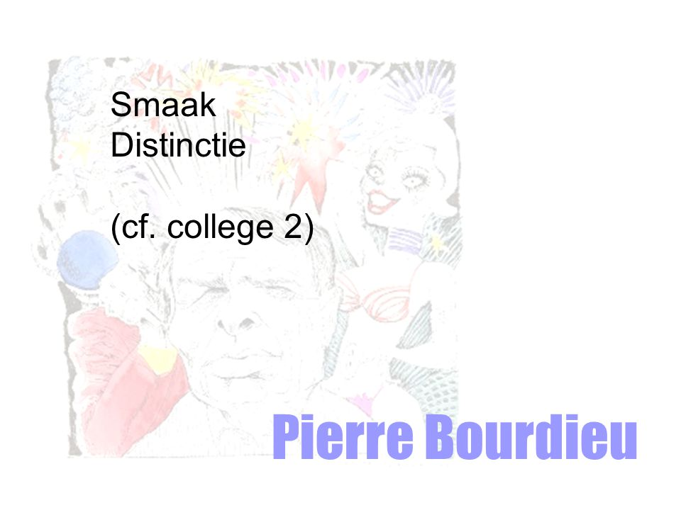Smaak Distinctie (cf. college 2) Pierre Bourdieu