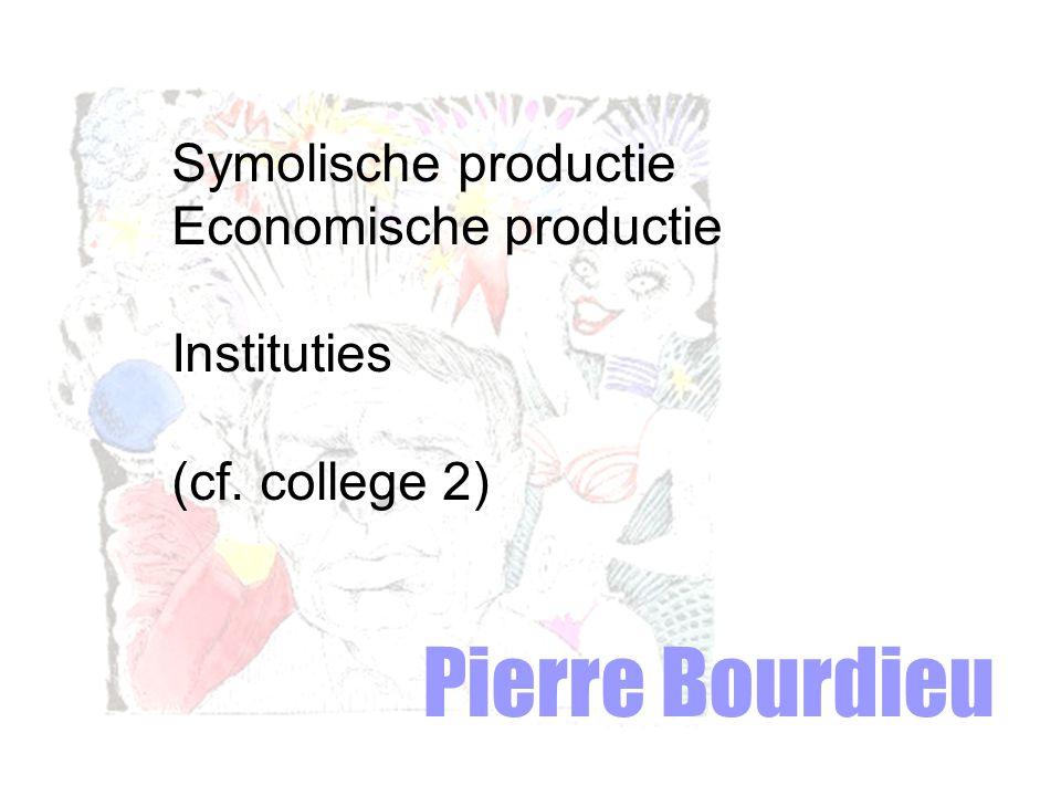 Pierre Bourdieu Symolische productie Economische productie Instituties