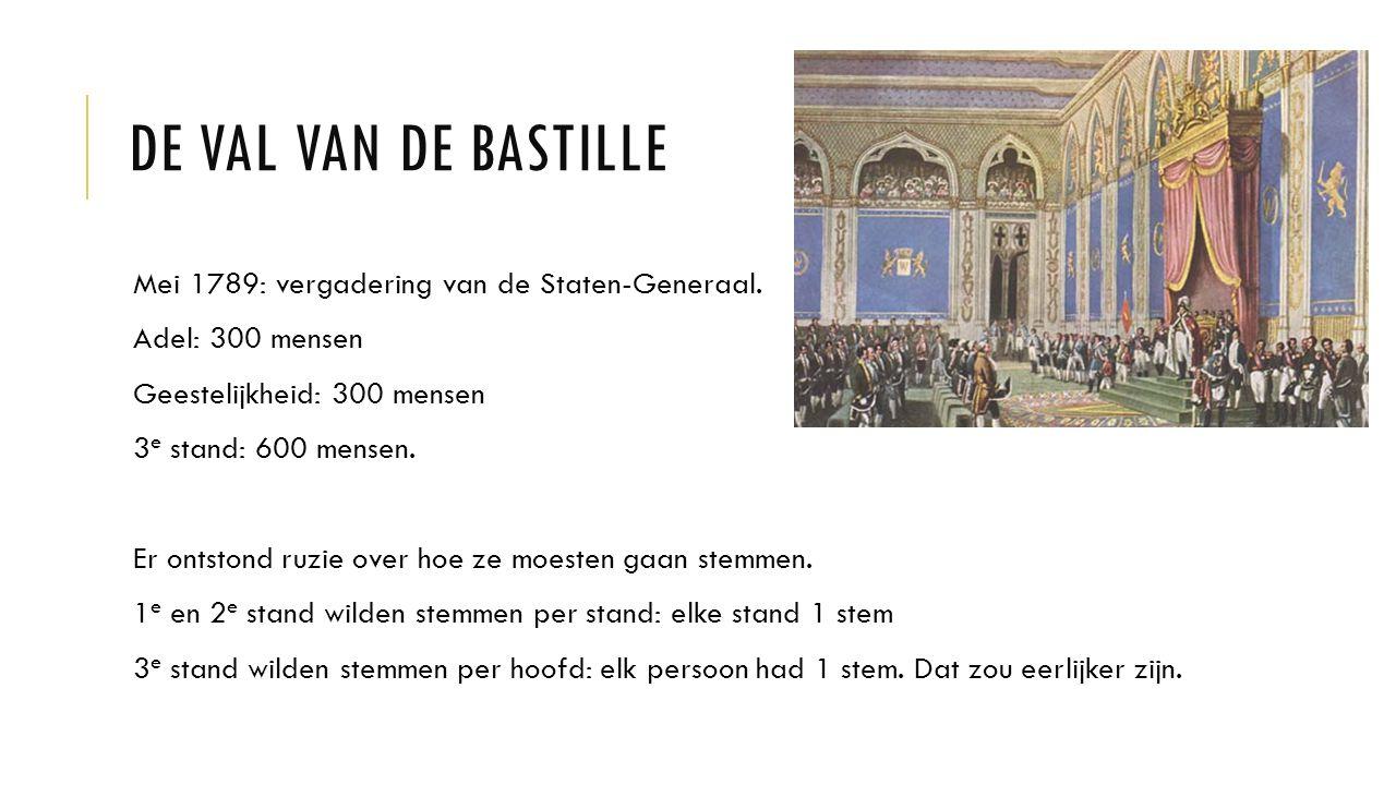 De val van de Bastille Mei 1789: vergadering van de Staten-Generaal.