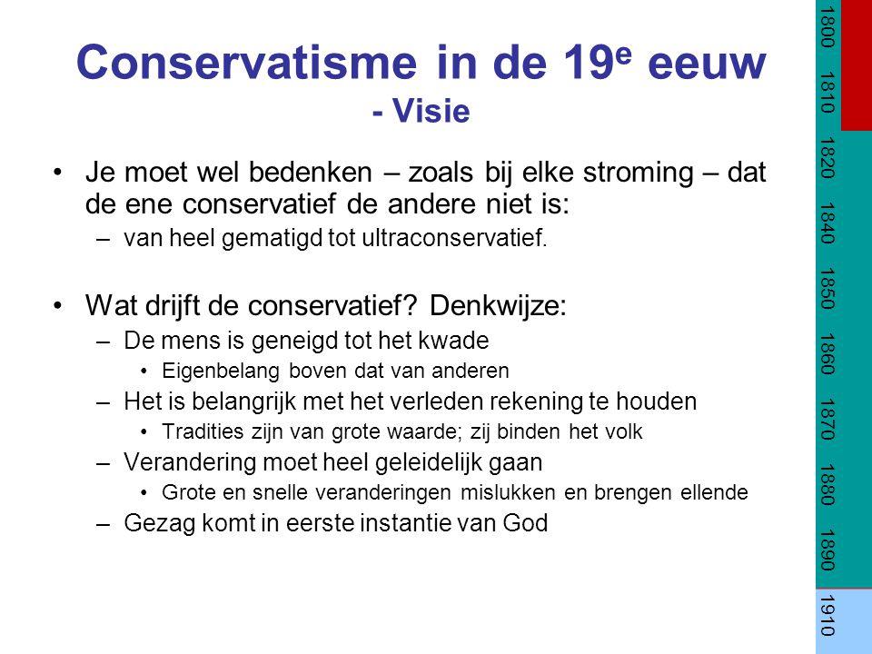 Conservatisme in de 19e eeuw - Visie