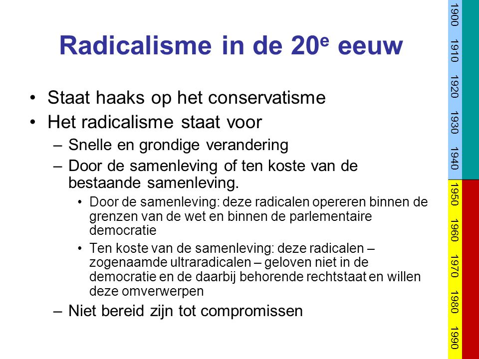 Radicalisme in de 20e eeuw