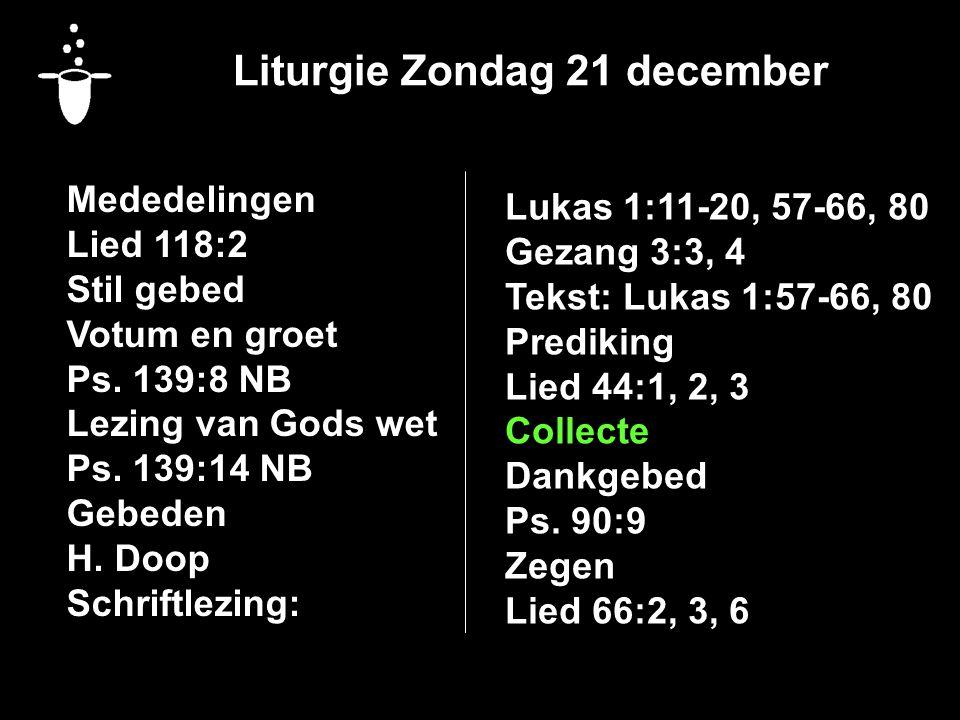 Liturgie Zondag 21 december