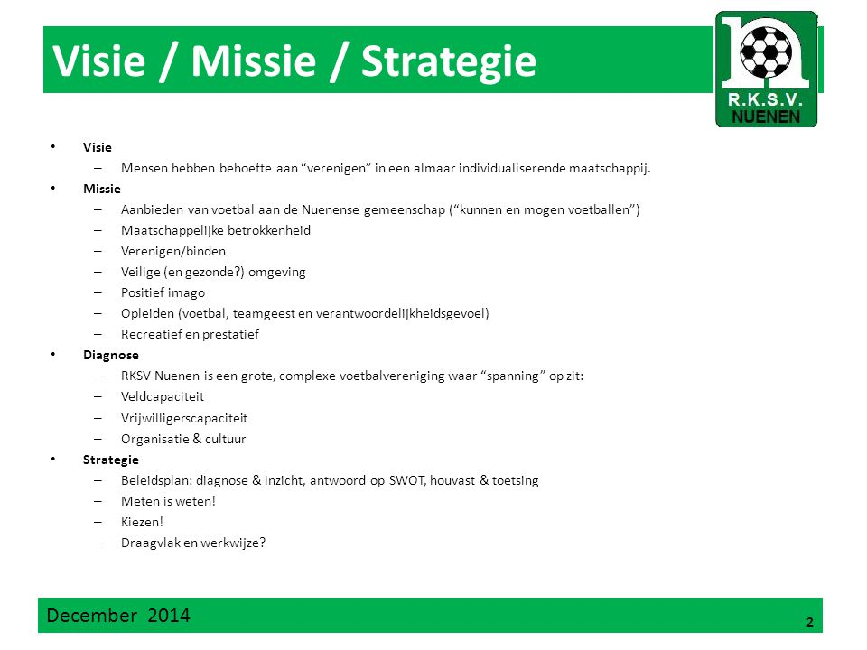 Visie / Missie / Strategie