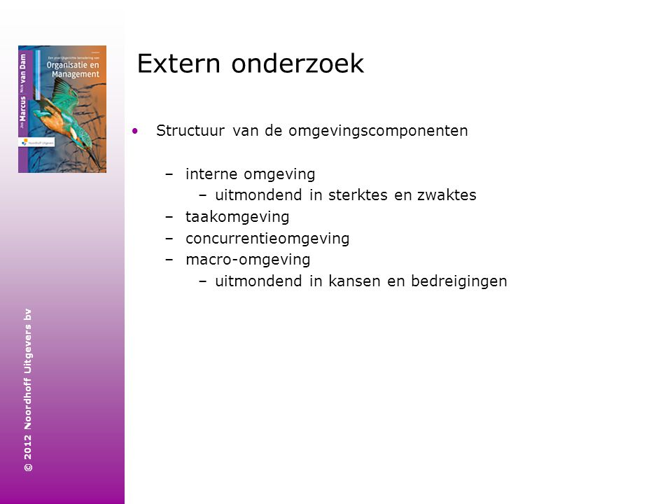 Extern onderzoek Structuur van de omgevingscomponenten