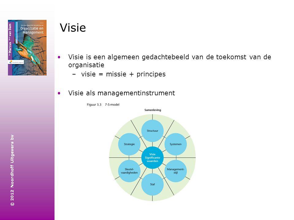 Visie Visie is een algemeen gedachtebeeld van de toekomst van de organisatie. visie = missie + principes.