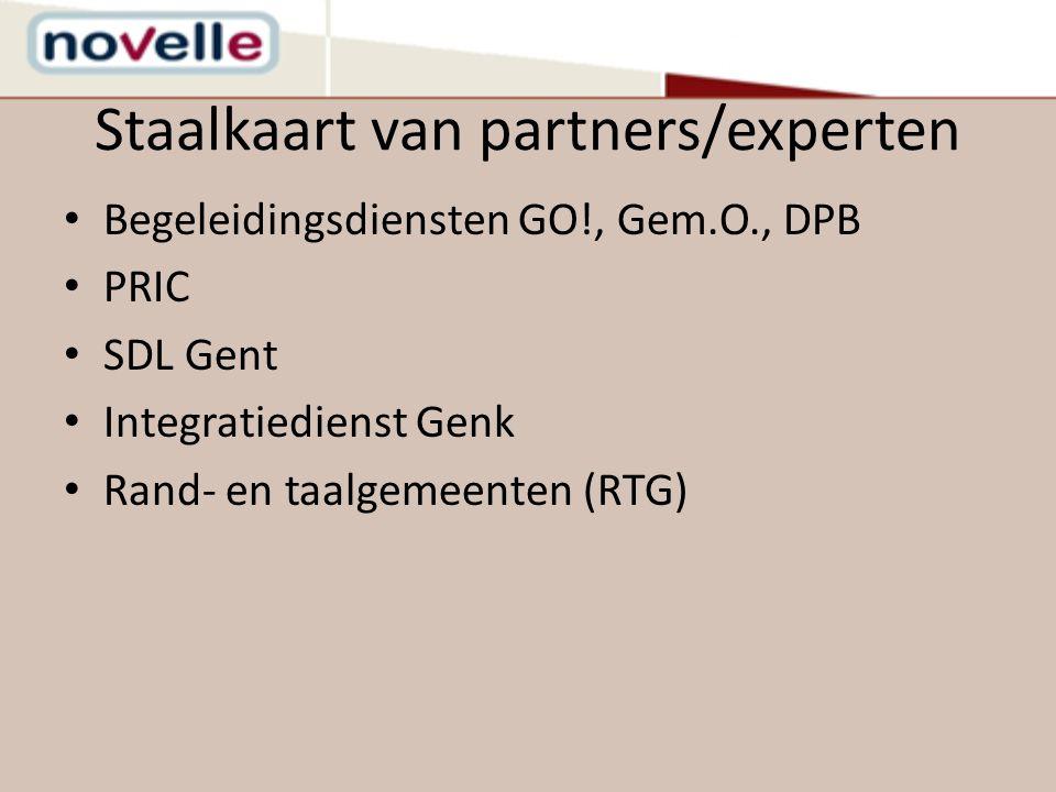 Staalkaart van partners/experten