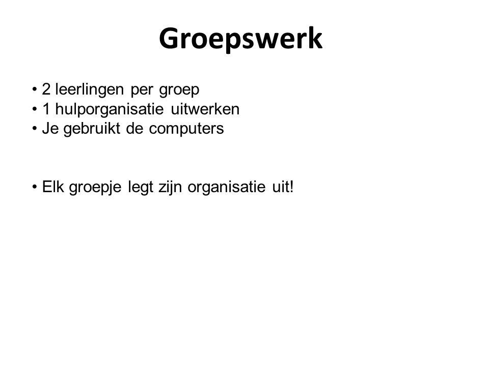 Groepswerk 2 leerlingen per groep 1 hulporganisatie uitwerken