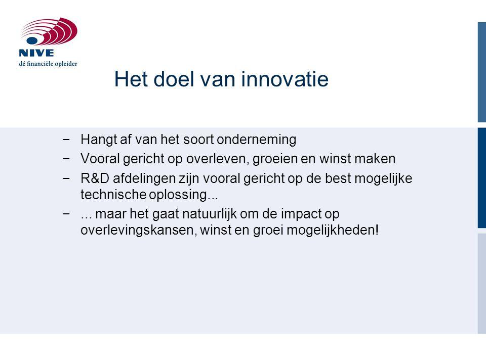 Het doel van innovatie Hangt af van het soort onderneming