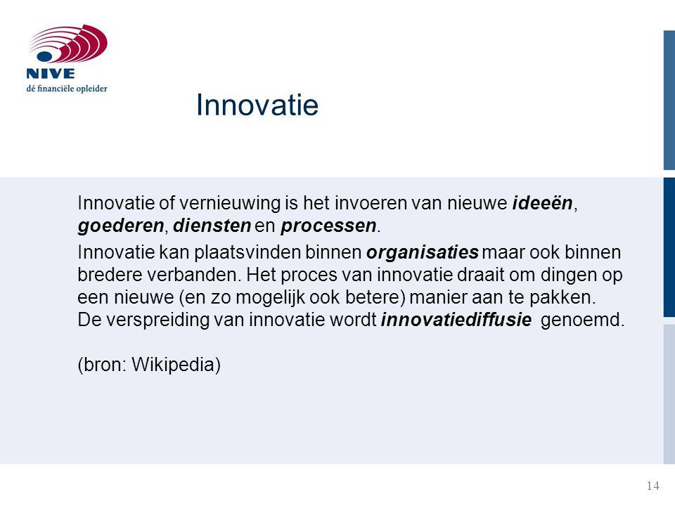 Innovatie Innovatie of vernieuwing is het invoeren van nieuwe ideeën, goederen, diensten en processen.