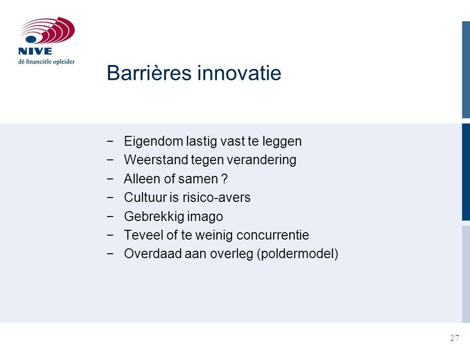Barrières innovatie Eigendom lastig vast te leggen
