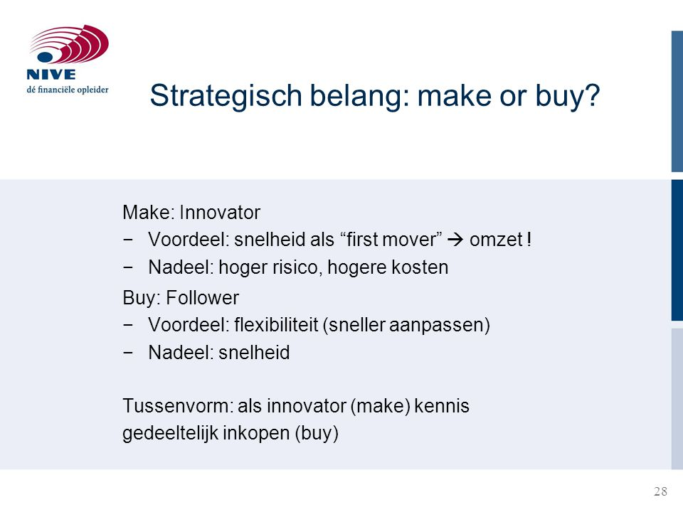 Strategisch belang: make or buy