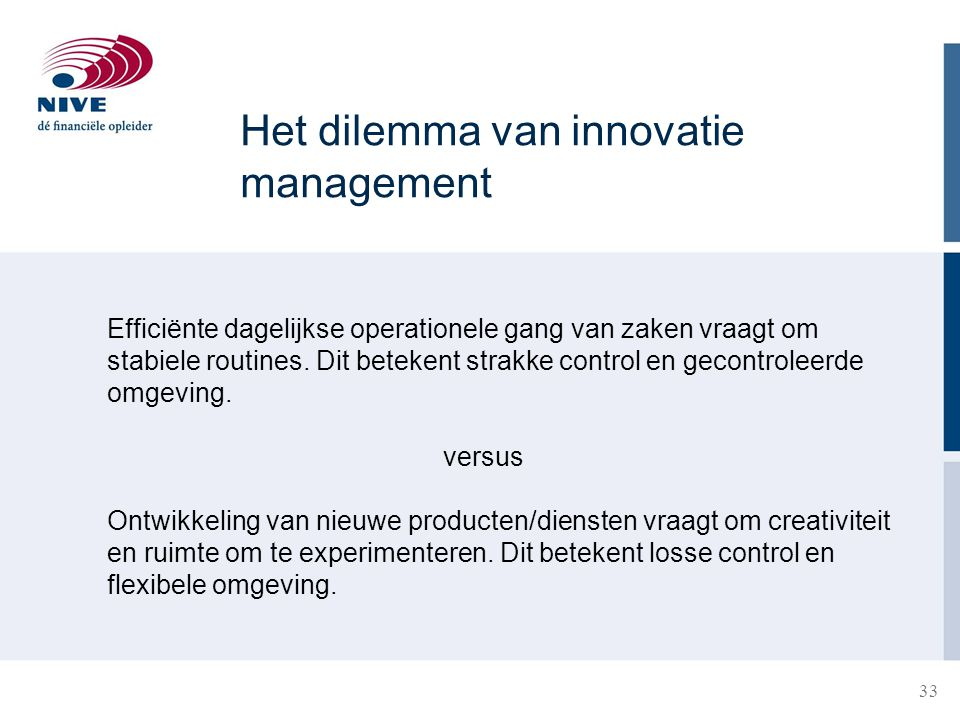 Het dilemma van innovatie management