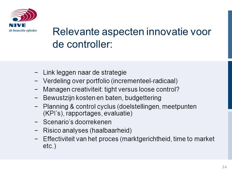 Relevante aspecten innovatie voor de controller: