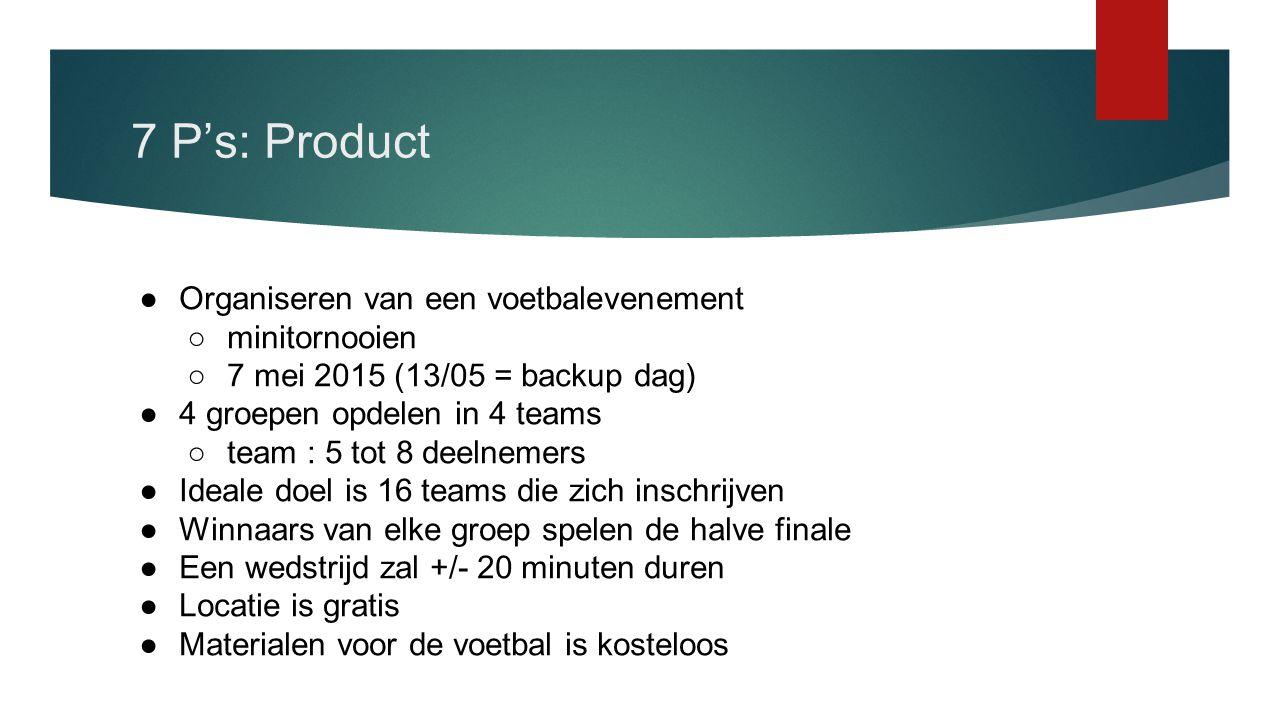 7 P's: Product Organiseren van een voetbalevenement minitornooien