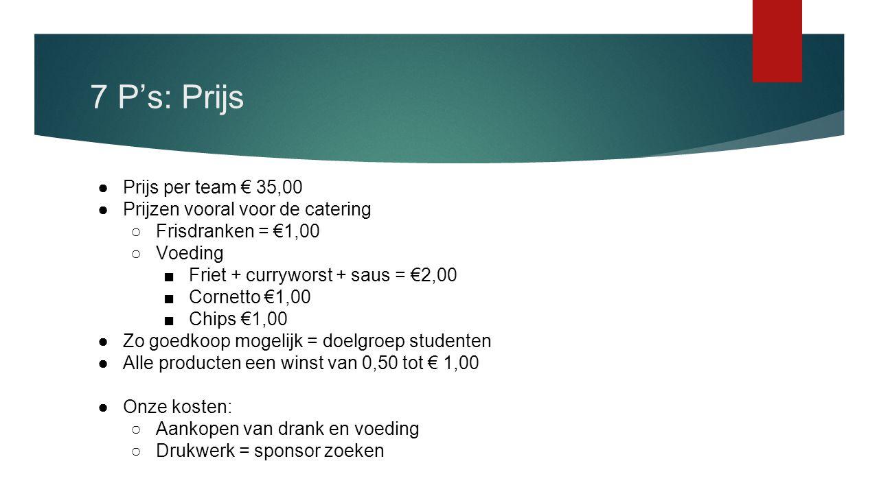7 P's: Prijs Prijs per team € 35,00 Prijzen vooral voor de catering
