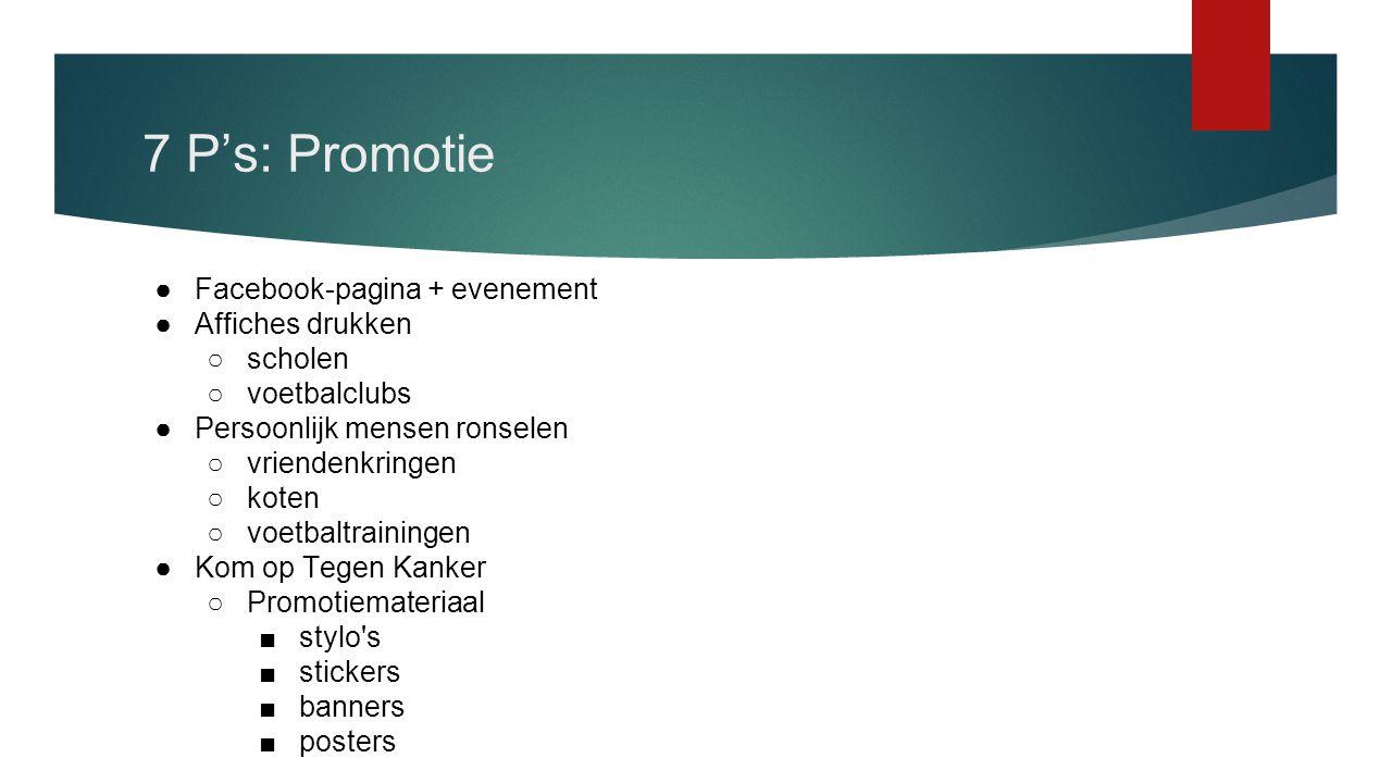 7 P's: Promotie Facebook-pagina + evenement Affiches drukken scholen