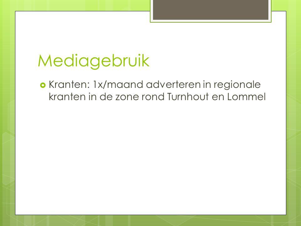 Mediagebruik Kranten: 1x/maand adverteren in regionale kranten in de zone rond Turnhout en Lommel