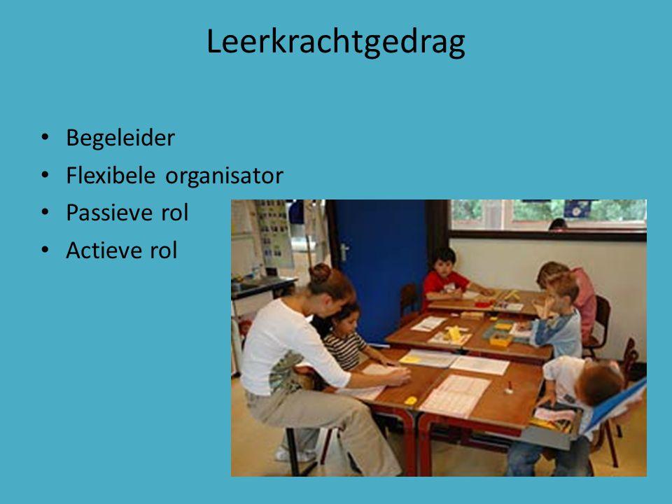 Leerkrachtgedrag Begeleider Flexibele organisator Passieve rol