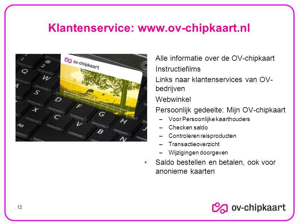 Klantenservice: www.ov-chipkaart.nl