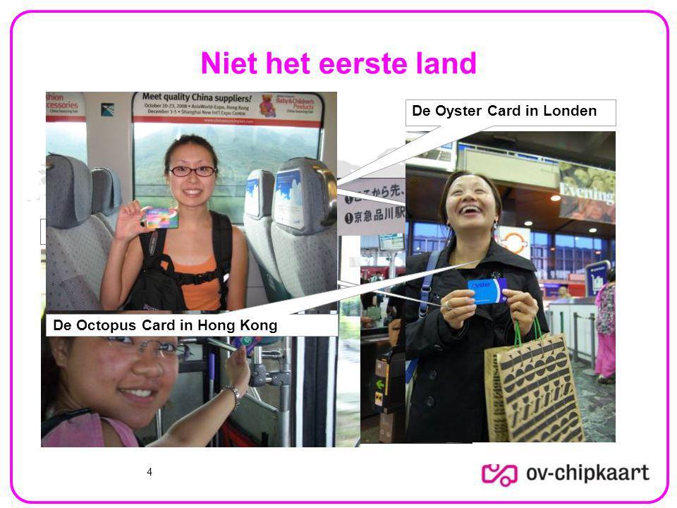 Niet het eerste land De Oyster Card in Londen De Suica kaart in Japan