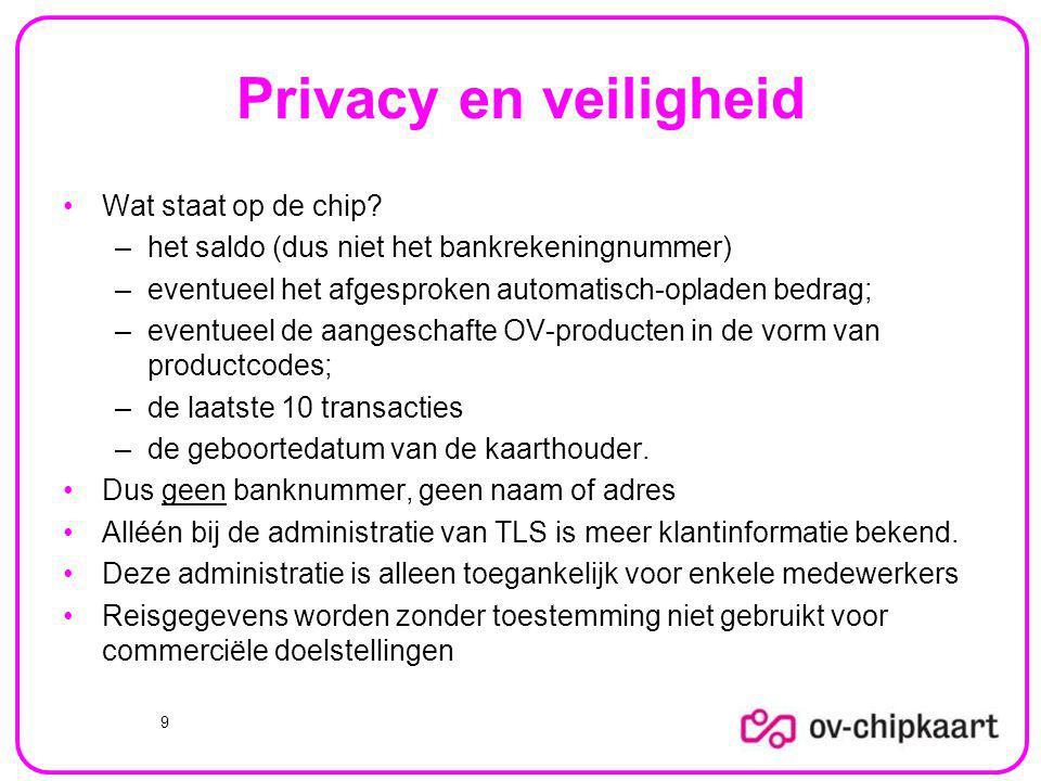 Privacy en veiligheid Wat staat op de chip