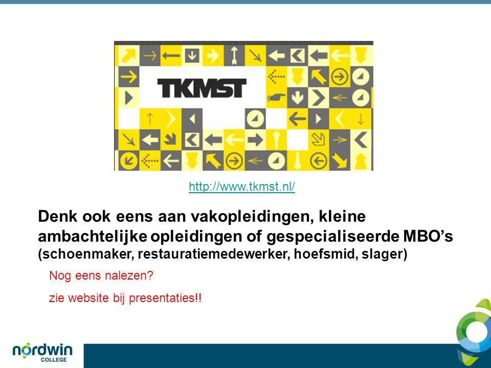 http://www.tkmst.nl/ Denk ook eens aan vakopleidingen, kleine ambachtelijke opleidingen of gespecialiseerde MBO's.