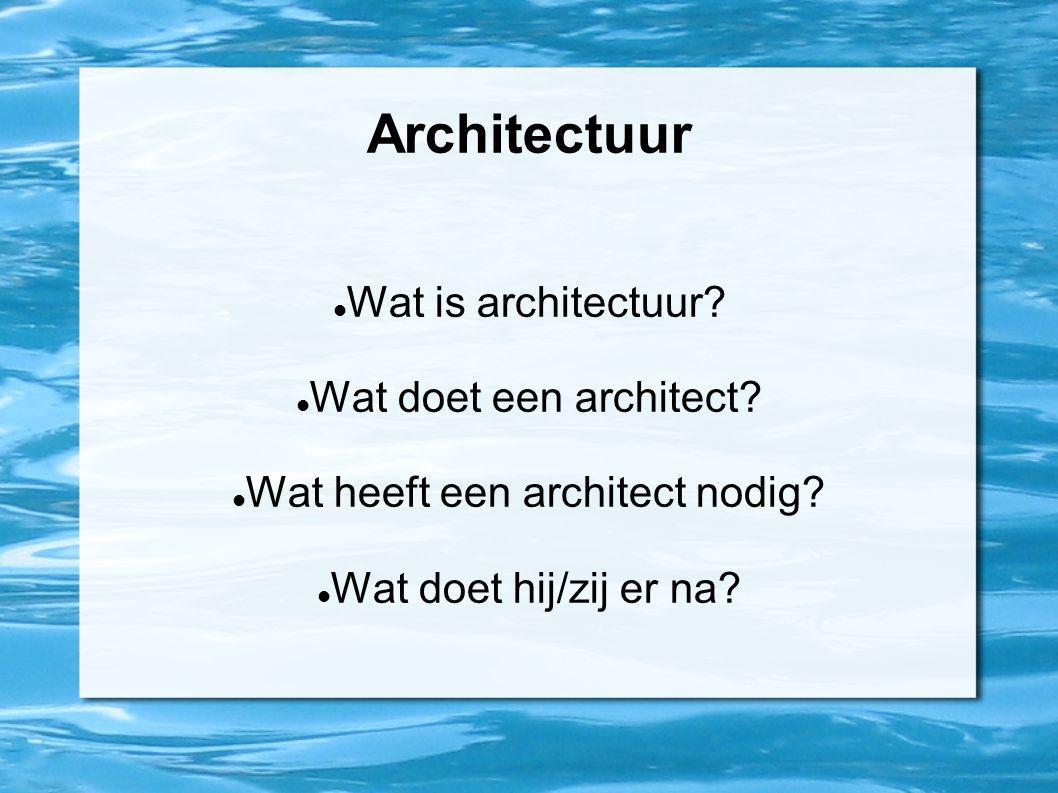 Wat heeft een architect nodig