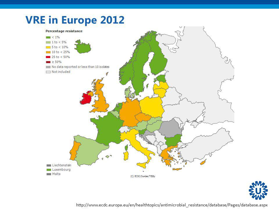 VRE in Europe 2012 http://www.ecdc.europa.eu/en/healthtopics/antimicrobial_resistance/database/Pages/database.aspx.