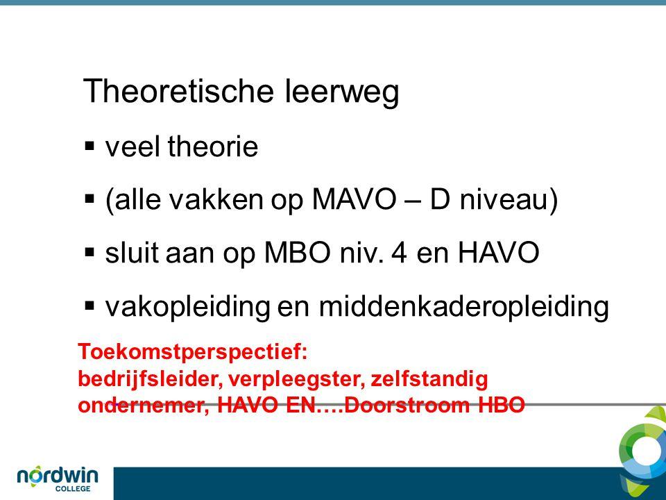 Theoretische leerweg veel theorie (alle vakken op MAVO – D niveau)