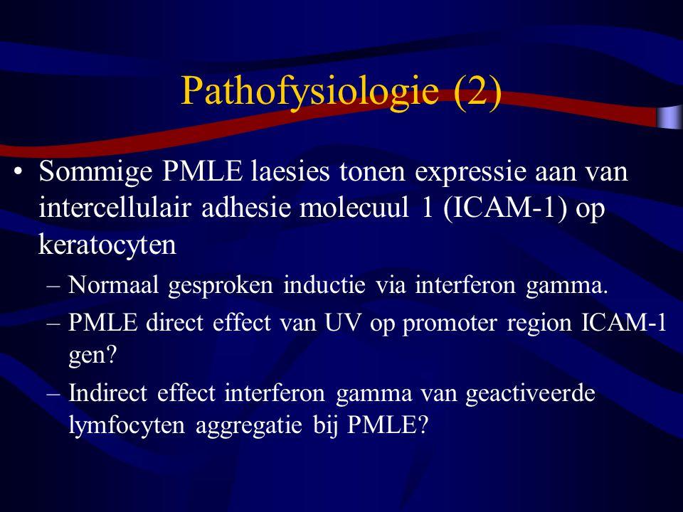 Pathofysiologie (2) Sommige PMLE laesies tonen expressie aan van intercellulair adhesie molecuul 1 (ICAM-1) op keratocyten.