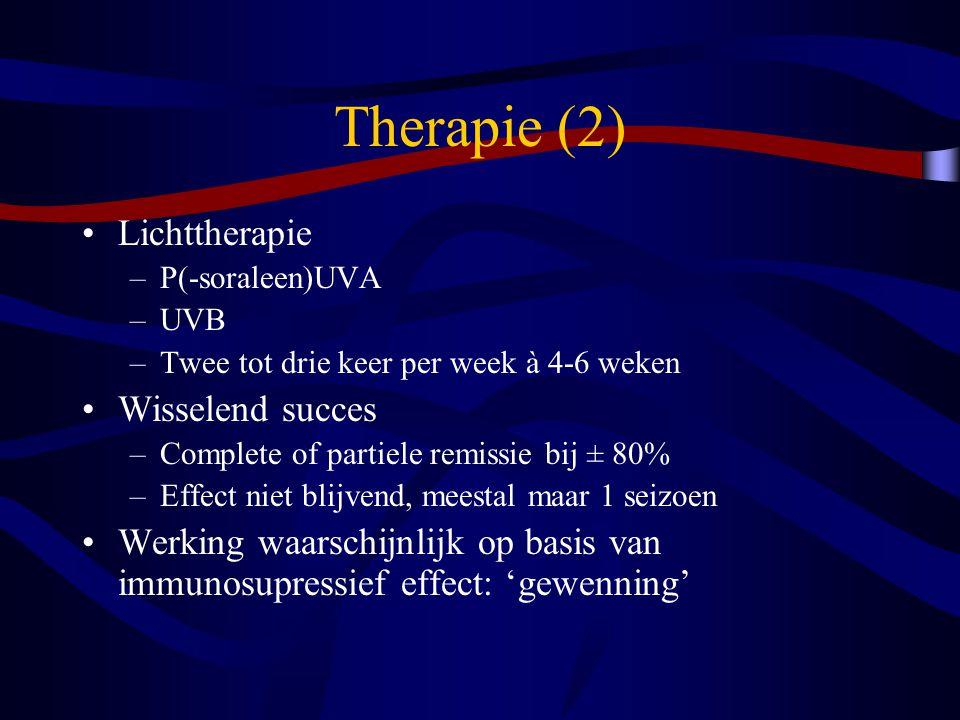 Therapie (2) Lichttherapie Wisselend succes