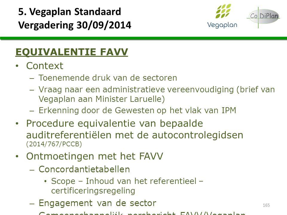 5. Vegaplan Standaard Vergadering 30/09/2014