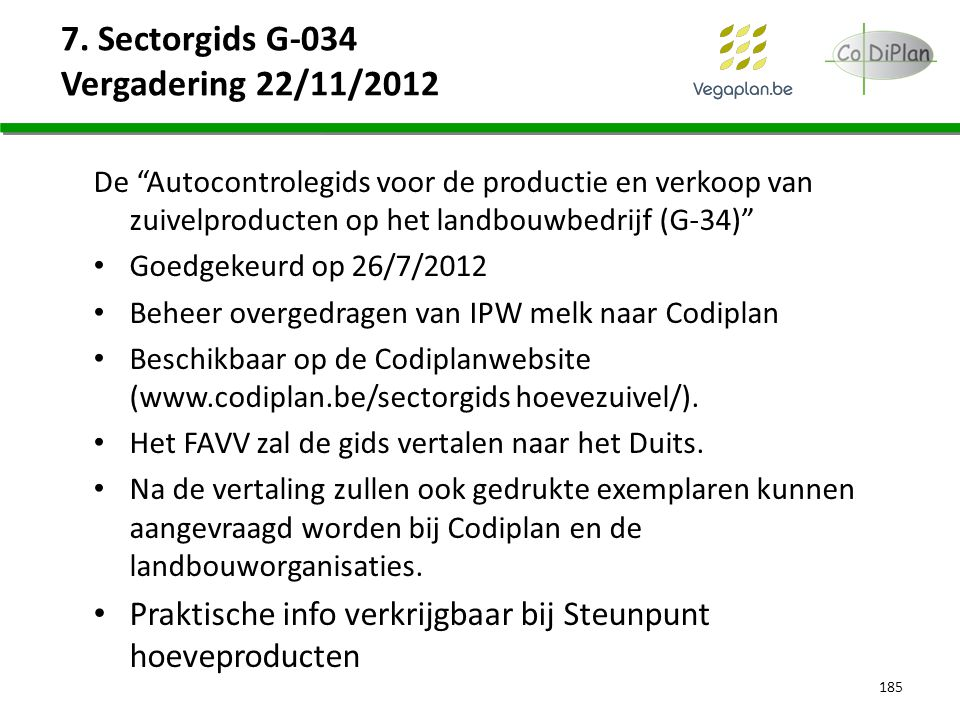 7. Sectorgids G-034 Vergadering 22/11/2012