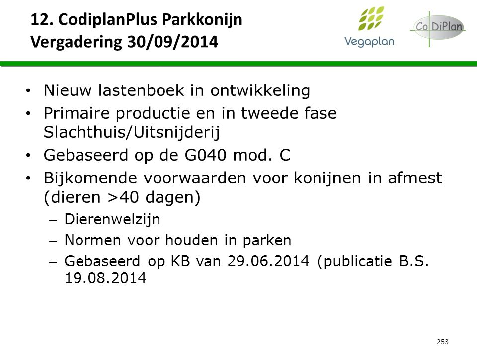 12. CodiplanPlus Parkkonijn Vergadering 30/09/2014