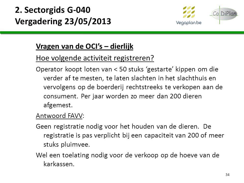 2. Sectorgids G-040 Vergadering 23/05/2013