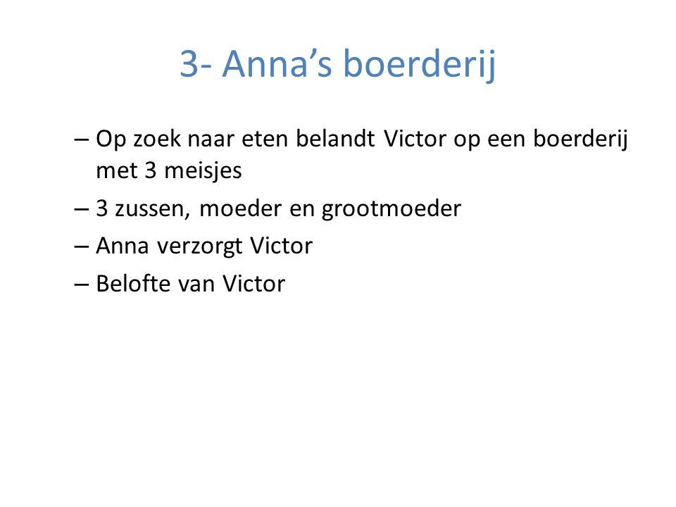 3- Anna's boerderij Op zoek naar eten belandt Victor op een boerderij met 3 meisjes. 3 zussen, moeder en grootmoeder.
