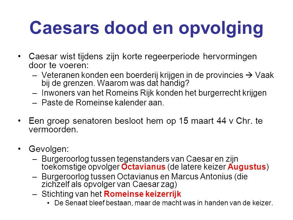 Caesars dood en opvolging