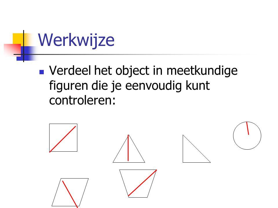 Werkwijze Verdeel het object in meetkundige figuren die je eenvoudig kunt controleren: