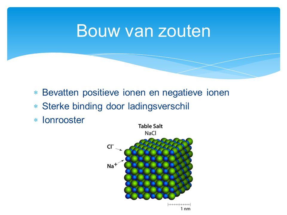 Bouw van zouten Bevatten positieve ionen en negatieve ionen