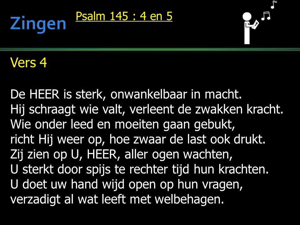 Zingen Vers 4 De HEER is sterk, onwankelbaar in macht.
