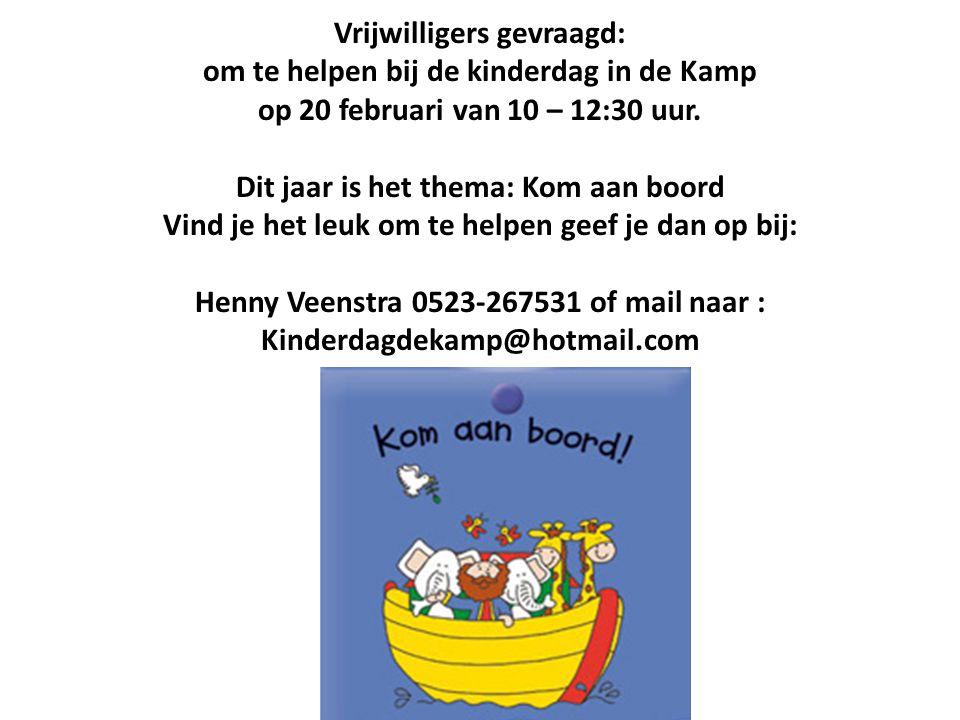 Vrijwilligers gevraagd: om te helpen bij de kinderdag in de Kamp