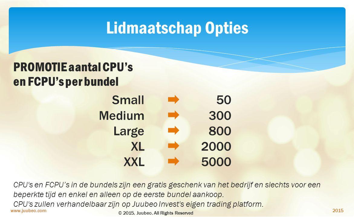 Lidmaatschap Opties PROMOTIE aantal CPU's en FCPU's per bundel Small