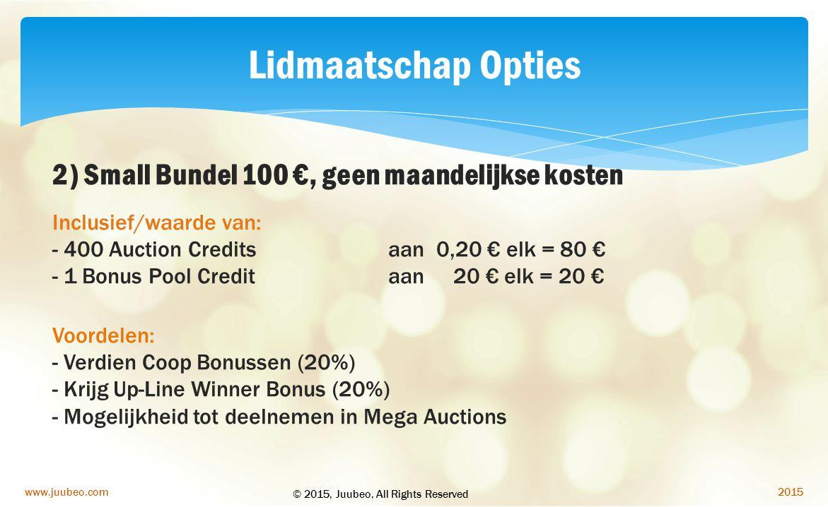 Lidmaatschap Opties 2) Small Bundel 100 €, geen maandelijkse kosten
