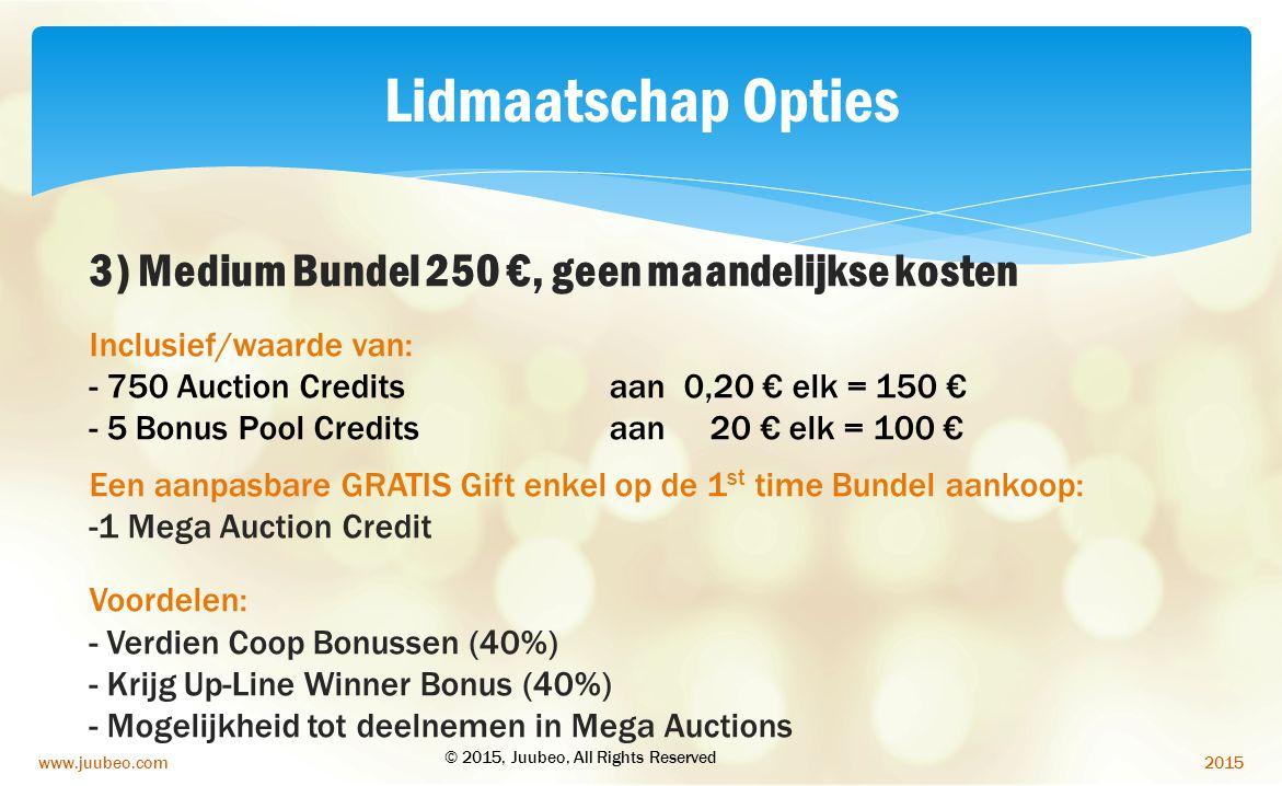 Lidmaatschap Opties 3) Medium Bundel 250 €, geen maandelijkse kosten