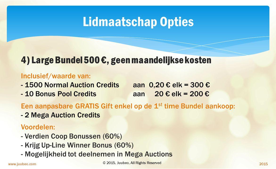 Lidmaatschap Opties 4) Large Bundel 500 €, geen maandelijkse kosten