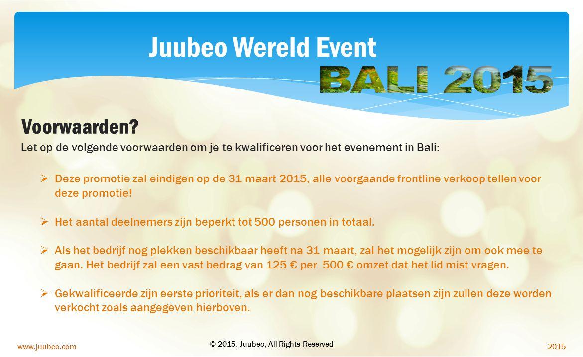 Juubeo Wereld Event Voorwaarden