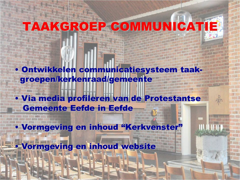 TAAKGROEP COMMUNICATIE